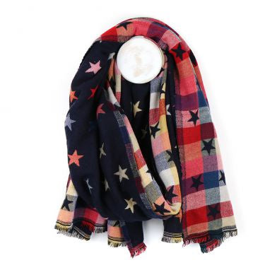 Blue Navy Reversible Multicoloured Star & Check Scarf