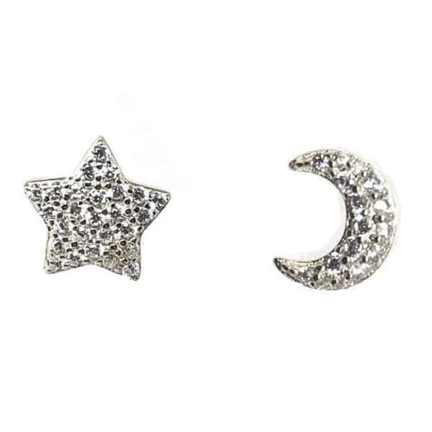 Star & Moon Stud Earrings Silver