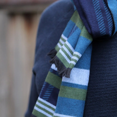 Men's Navy Soft Striped Winter Scarf