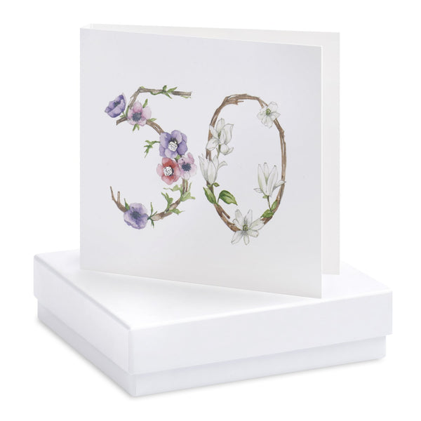 Boxed 50th Birthday Silver Earring Card