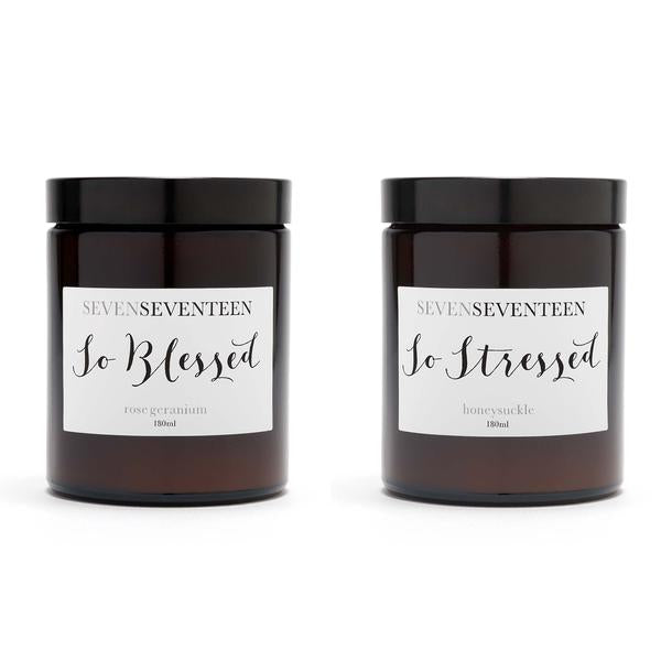 Rose Geranium & Honeysuckle Scented Candle Duo So Blessed So Stressed