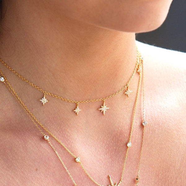 Gold Valhalla Star Charm Necklace