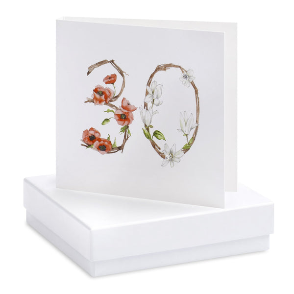Boxed 30th Birthday Silver Earring Card