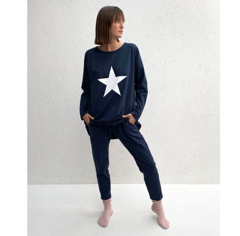 Navy Robyn Top With White Star
