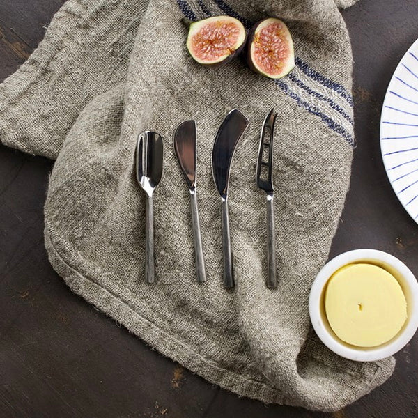Darsa Cheese Knife Set - Brushed Silver Set of 4