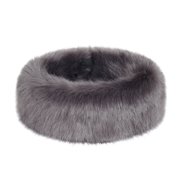 Grey Steel Faux Fur Huff
