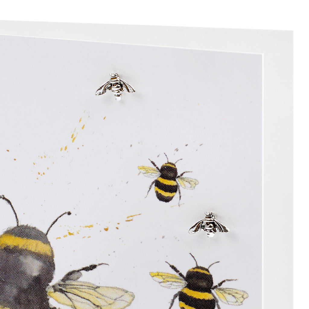 Boxed Bumble Bee Silver Earring Card