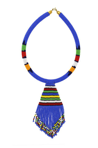 Blue Nala Beaded Maasai Necklace