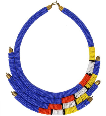 Blue Isolo Beaded Maasai Necklace