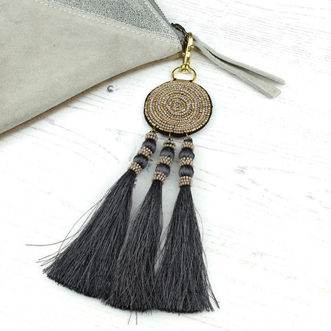 Taupe & Grey Beaded Bag Charm With Tassels