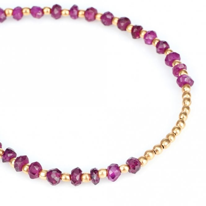 Gold Plated Garnet Sun Disc Bracelet