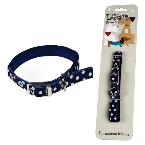Medium Blue Polka Dot Dog Collar