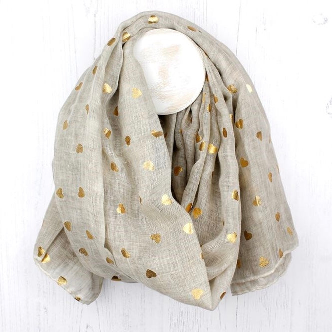 Washed Natural Scarf With Metallic Gold Heart Print