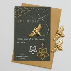 Bee Happy Gold Pocket Charm