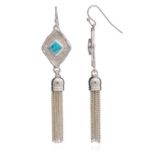 Turquoise Silver Diamond Tassel Earrings