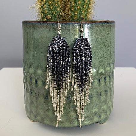 Gunmetal & Silver Shimmer Beaded Earrings