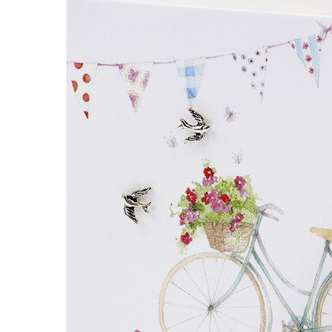 Boxed Bicycle & Bunting Silver Earring Card