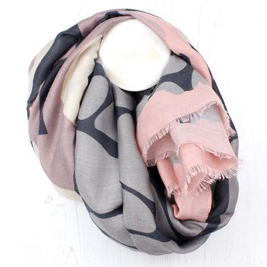 Blush Pink Grey & Ivory Graphic Print Scarf