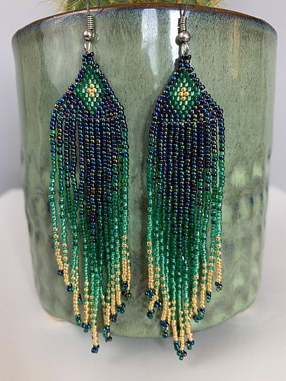 Iridescent Peacock Jade & Gold Beaded Earrings