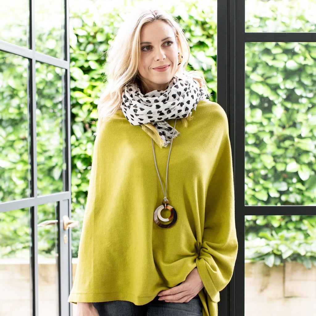 Lime Cotton Fine Knit Poncho