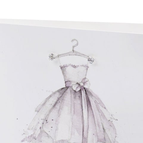 Copy of Boxed Granddaughter Party Dress Silver Earring Card