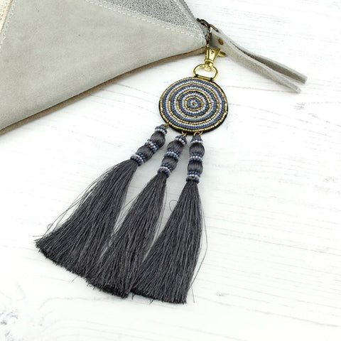 Grey & Gold Beaded Bag Charm With Tassels