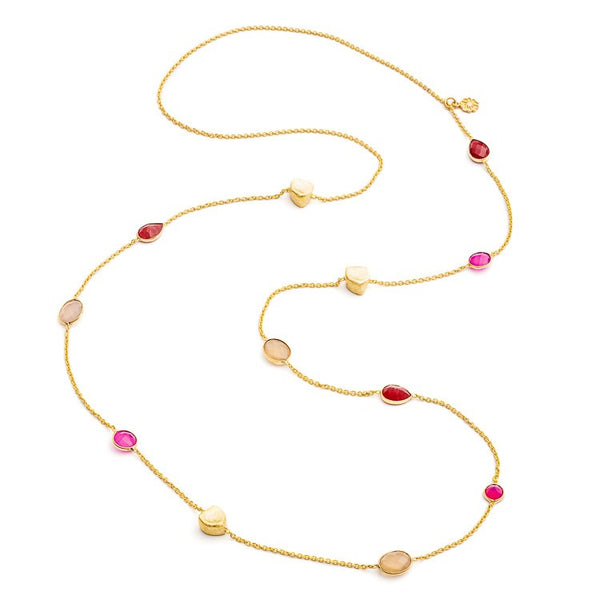 Fuchsia Chalcedony Semi-Precious Gold Necklace