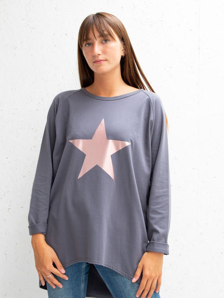 Charcoal Robyn Top With Rose Gold Giant Star