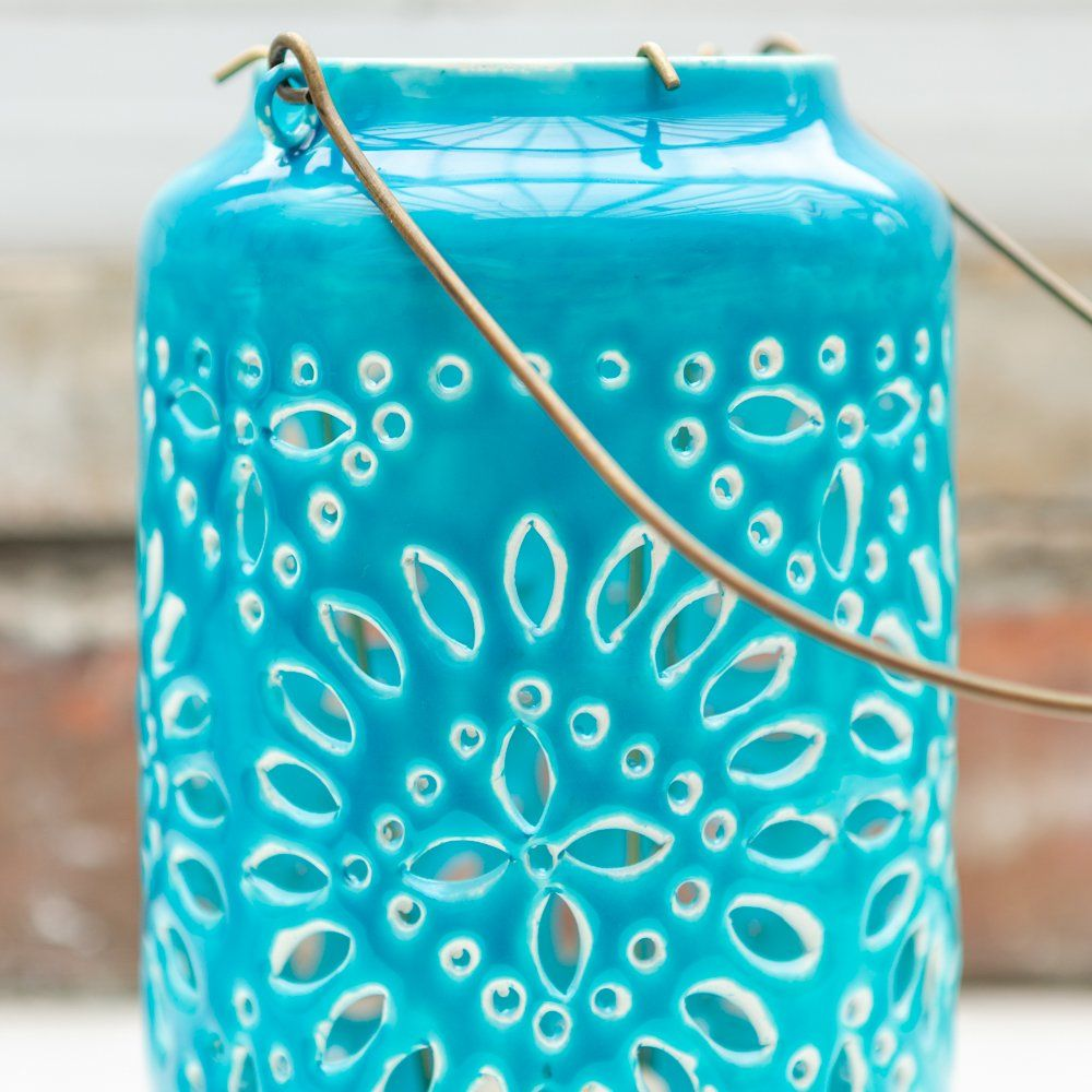 Moroccan Cut-Out Lantern Turquoise