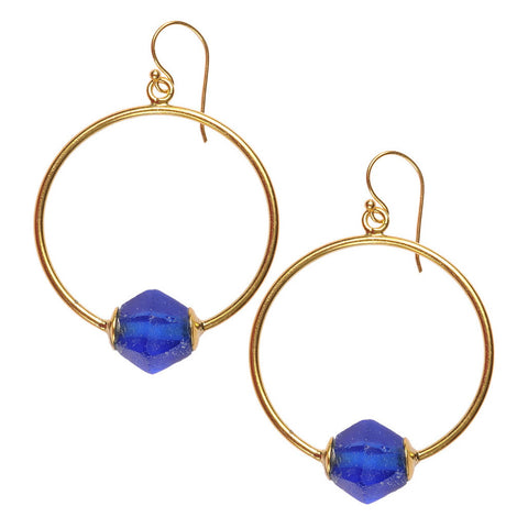 Marine Blue Glass Hoop Earrings