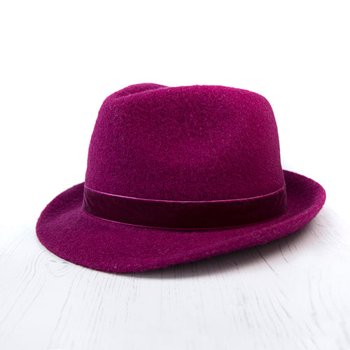 Berry Wool Hat With Velvet Trim