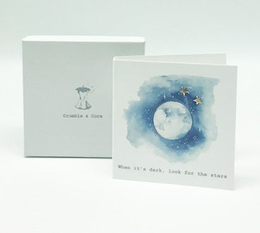 Boxed Moon & Stars Silver Earring Card