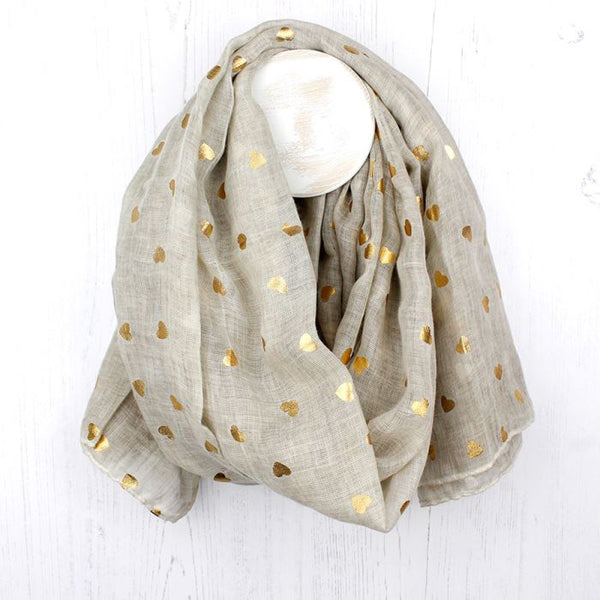 Natural Scarf With Metallic Gold Heart Print