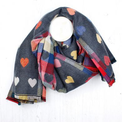 Grey Reversible Multicoloured Heart & Check Scarf