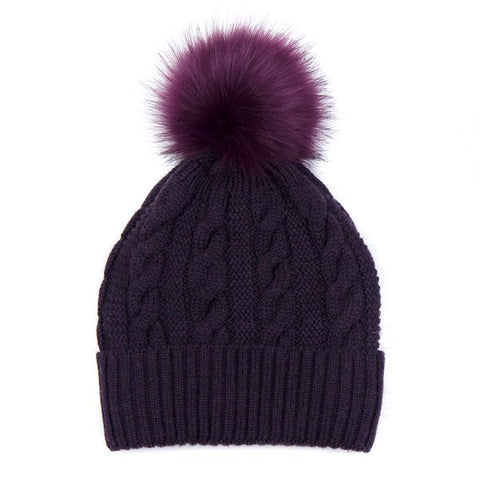 Mulberry Cable Knit Faux Fur Bobble Hat