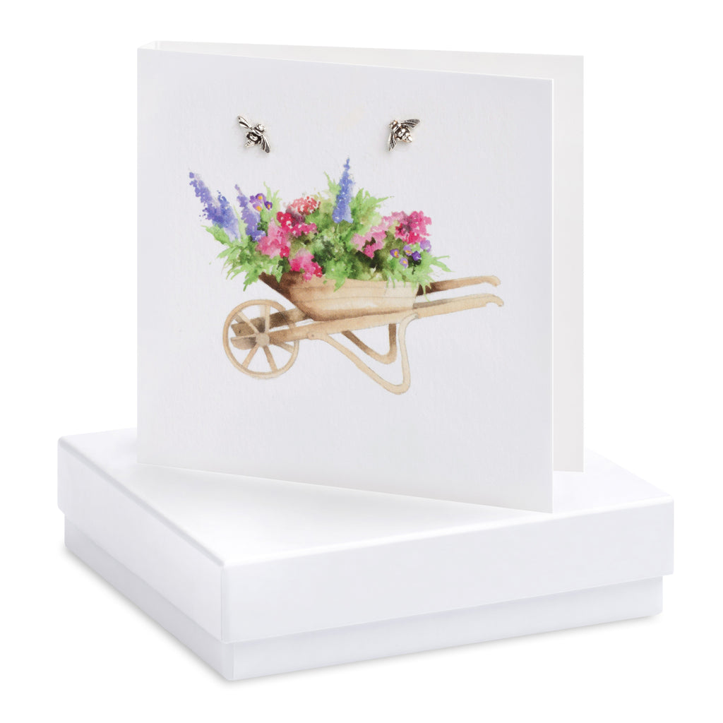 Boxed Wheelbarrow Silver Earring Card