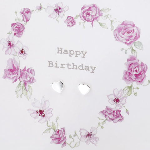 Boxed Floral Heart Wreath Happy Birthday Silver Earring Card