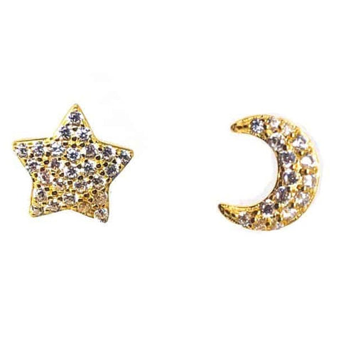 Star & Moon Stud Earrings Gold