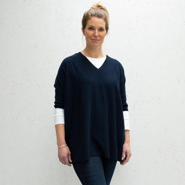 Navy Clara V-Neck Jumper