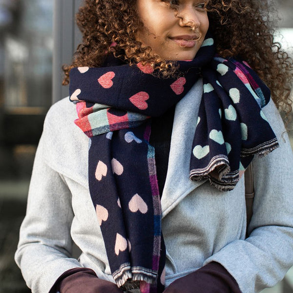 Navy Reversible Multicoloured Pastel Heart & Check Scarf