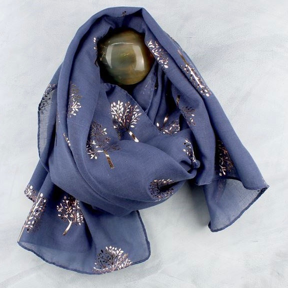 Denim Blue & Metallic Rose Gold Tree Print Scarf
