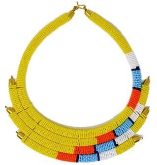 Yellow Isolo Beaded Maasai Necklace