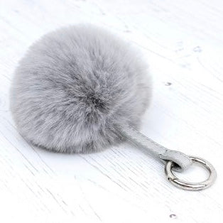 Pale Grey Faux Fur Pom-Pom Keyring
