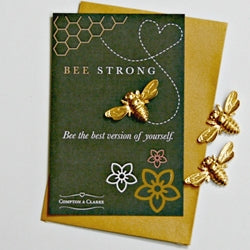 Bee Strong Gold Pocket Charm