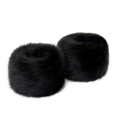 Black Jet Faux Fur Wrist Warmers
