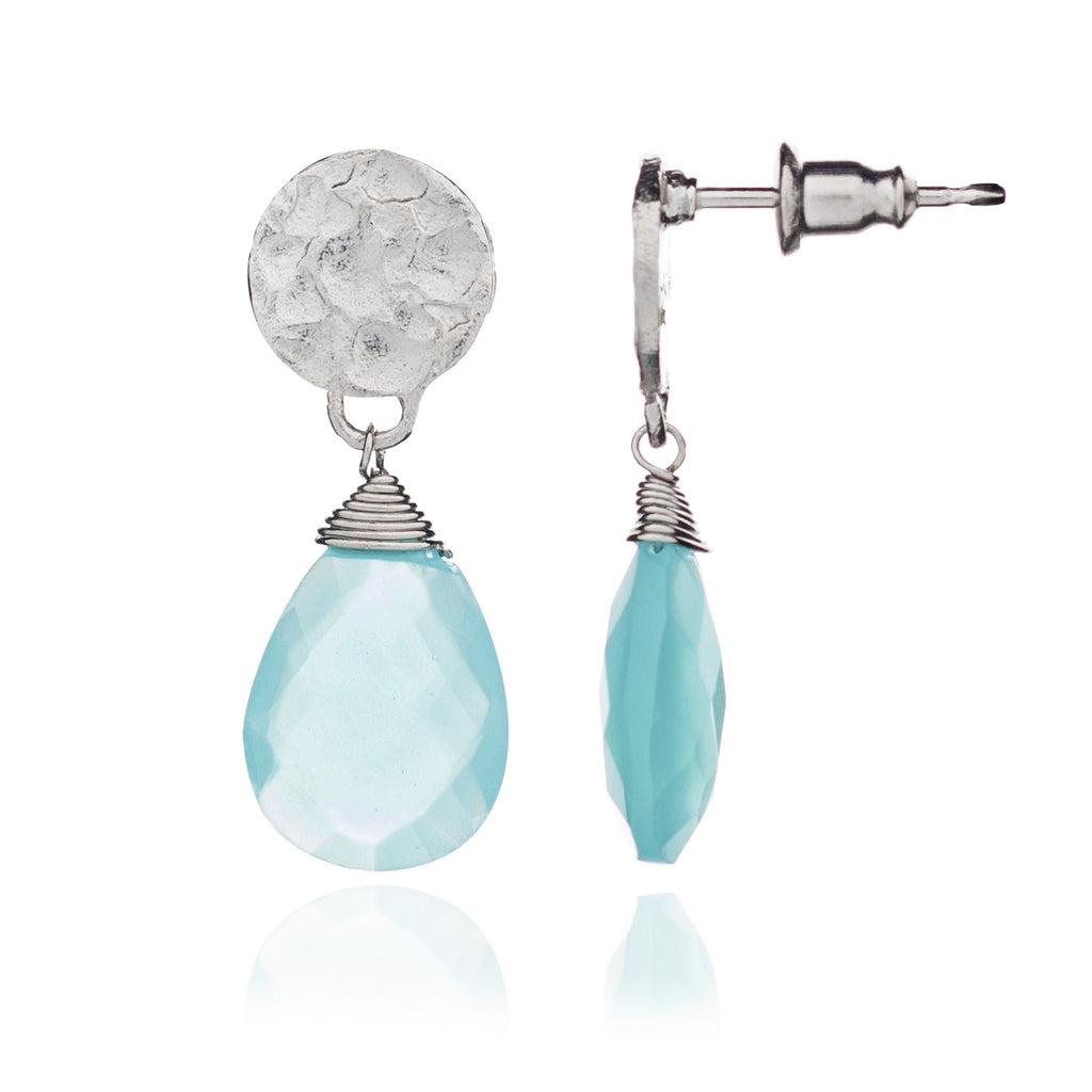 Silver Plated Aqua Chalcedony Drop Earrings