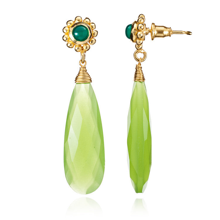 Prehnite Chalcedony & Green Onyx Athena Drop Earrings