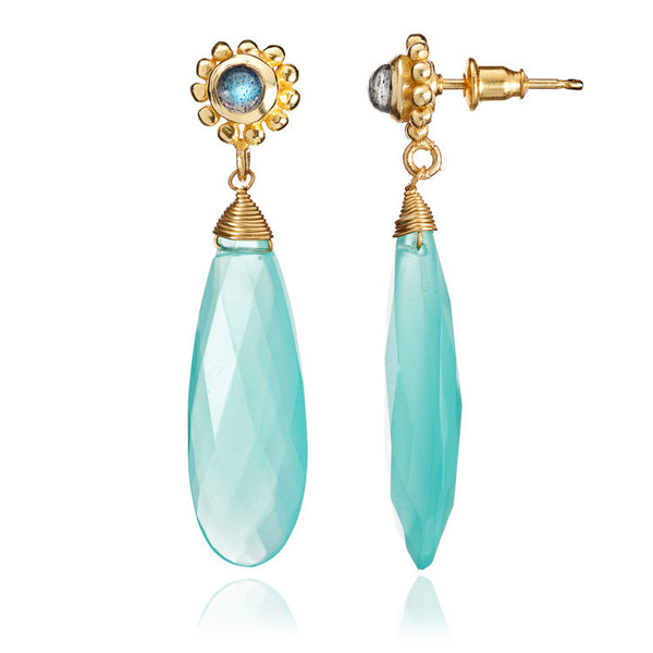 Aqua Chalcedony & Labradorite Athena Drop Earrings