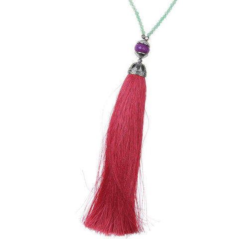Aqua Rainbow Long Tassel Necklace
