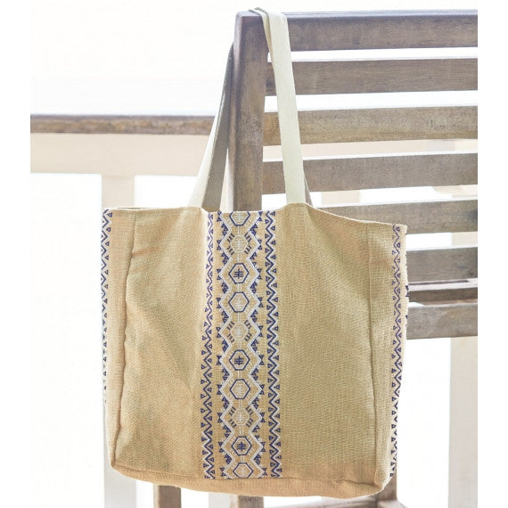 Blue Navy Aruba Jute Beach Bag